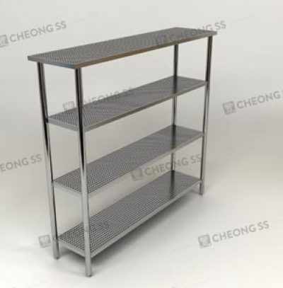 4-TIER PERFORATED UPRIGHT SHELVING RACK