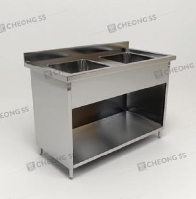 DOUBLE BOWL SINK OPEN CABINET
