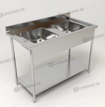 DOUBLE BOWL SINK TABLE W BOTTOM SHELF AND ROUND TUBE LEGS