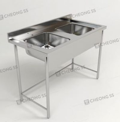 DOUBLE BOWL SINK TABLE W ROUND TUBE LEGS