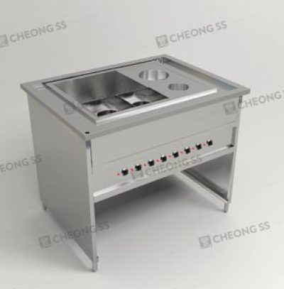 ELECTRICAL NOODLE COOKING COUNTER W ROUND SAUCE CONDI COMPARTMENT