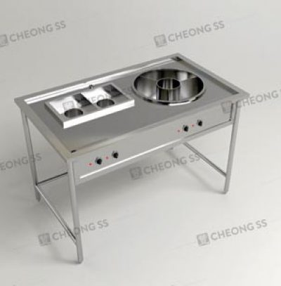ELECTRICAL NOODLE COOKING STATION W ROUND SOUP COMPARTMENT