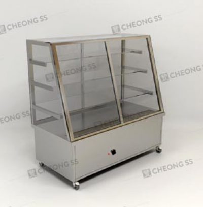 ELECTRICAL STAINLESS STEEL SLANTED FOOD WARMER DISPLAY W WHEELS