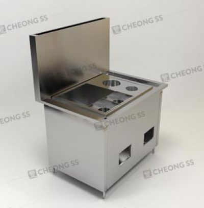 GAS NOODLE COOKING COUNTER W ROUND SAUCE CONDI COMPARTMENT