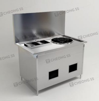 GAS NOODLE COOKING STATION W ROUND SOUP COMPARTMENT