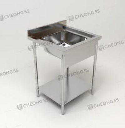SINGLE BOWL SINK TABLE W BOTTOM SHELF AND ROUND TUBE LEGS