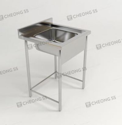 SINGLE BOWL SINK TABLE W ROUND TUBE LEGS