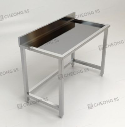 SINGLE TIER INSET WORK TABLE W BACKSPLASH