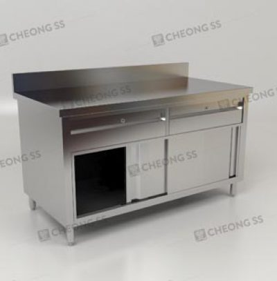 cheong ss sliding door storage cabinet w drawers and