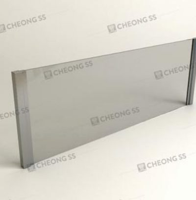 SLOT-IN SQUARE TUBE GLASS SNEEZE GUARD