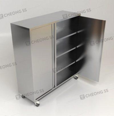 Cheong SS | Upright Open Door Storage Cabinet W/ Heavy Duty Wheels