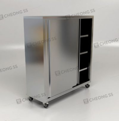 UPRIGHT SLIDING DOOR STORAGE CABINET W WHEELS